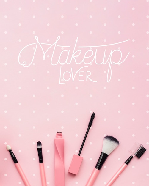 Flat lay of make-up concept mock-up Free Psd
