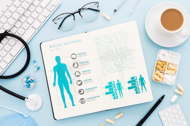 Плоская планировка медицинского стола Бесплатные Psd