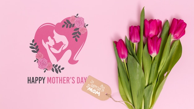 Flat lay mothers day composition with copyspace for logo Free Psd