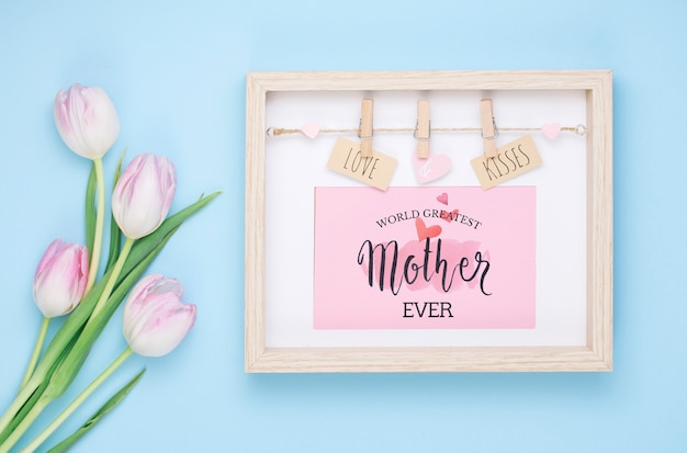 Flat lay mothers day composition with frame mockup Free Psd