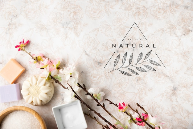 Flat lay of natural cosmetic products Free Psd