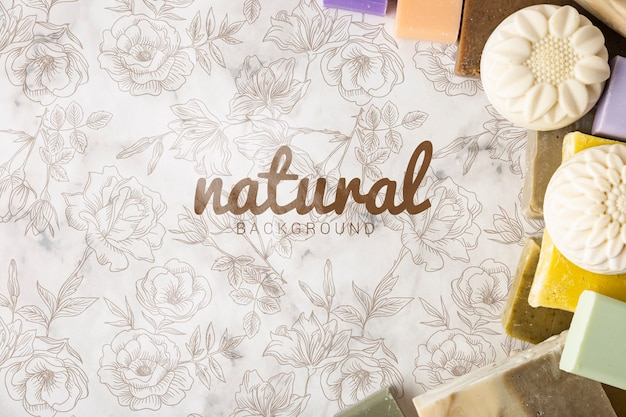 Flat lay of natural soap background Free Psd