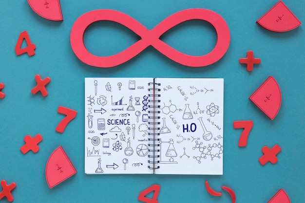 Flat lay of notebook with infinity and numbers Free Psd