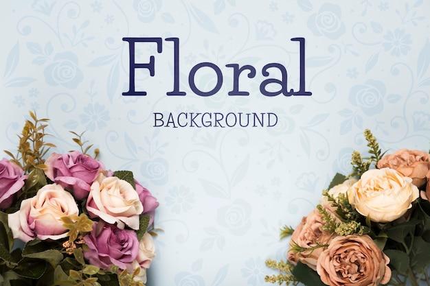 春のバラの花束のフラットレイアウト 無料 Psd