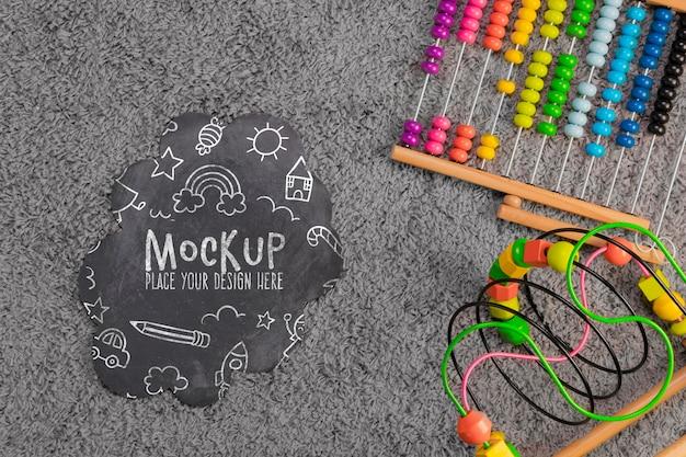 Плоская планировка детских красочных игрушек с копией пространства Бесплатные Psd