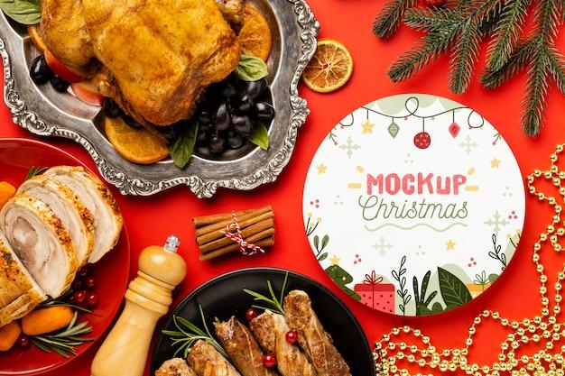 Плоский макет вкусной рождественской еды Бесплатные Psd