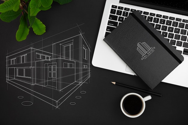 Плоская планировка макета стола Бесплатные Psd
