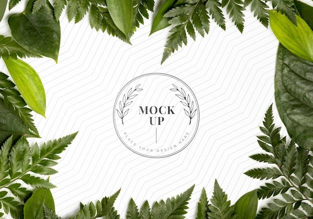 Плоский макет рамы листвы Бесплатные Psd