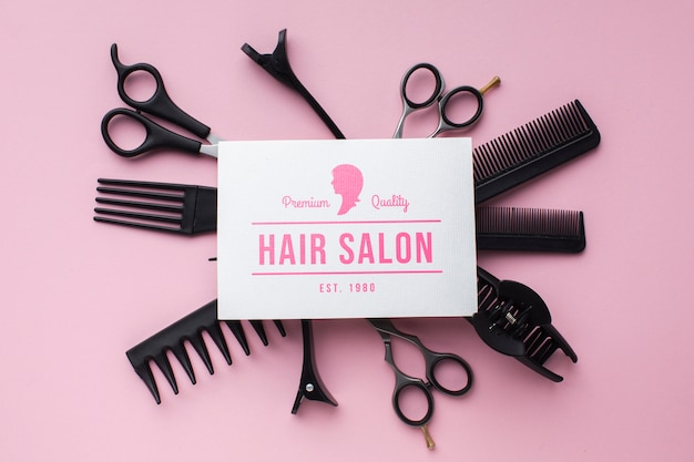 Плоский макет парикмахерской концепции Бесплатные Psd