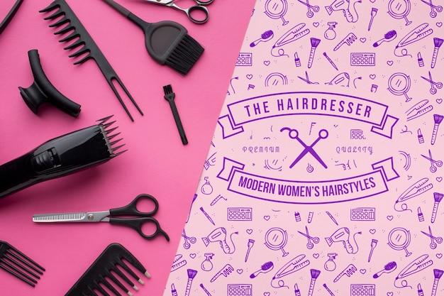 美容師概念モックアップのフラットレイアウト 無料 Psd