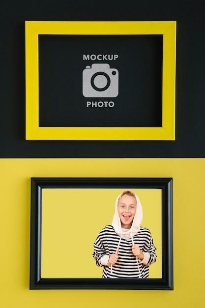 写真用の長方形のフレームのフラットレイ 無料 Psd