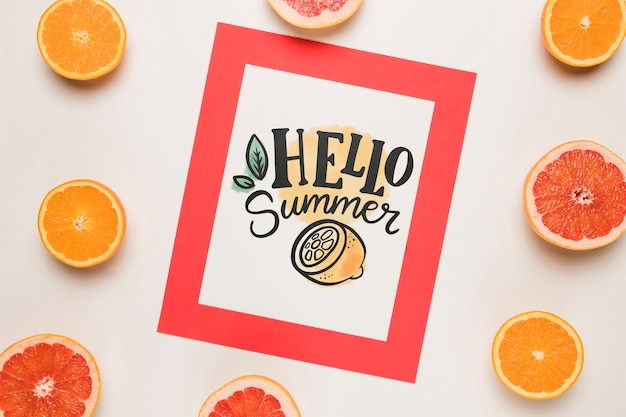 Flat lay paper card mockup with summer fruits Free Psd