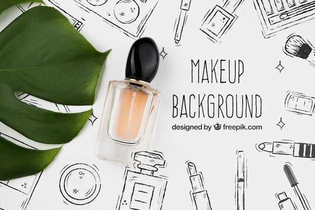 Flat lay of perfume bottle mock-up Free Psd