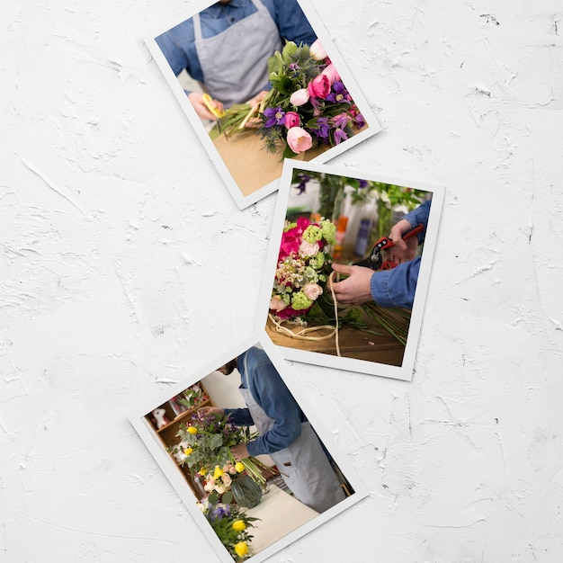 Flat lay of photos with florist and bouquet of flowers Free Psd
