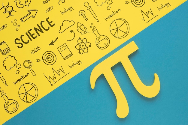 Flat lay of pi sign for mathematics Free Psd