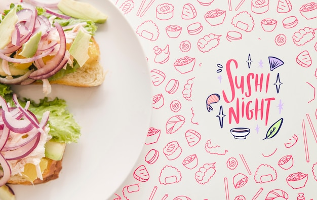 Flat lay of plate of food with pink background Free Psd