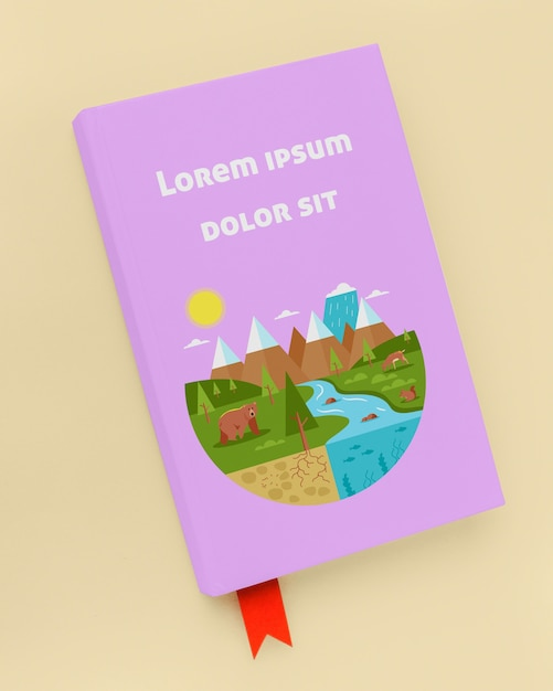Mock-up di libro viola piatto disteso Psd Gratuite