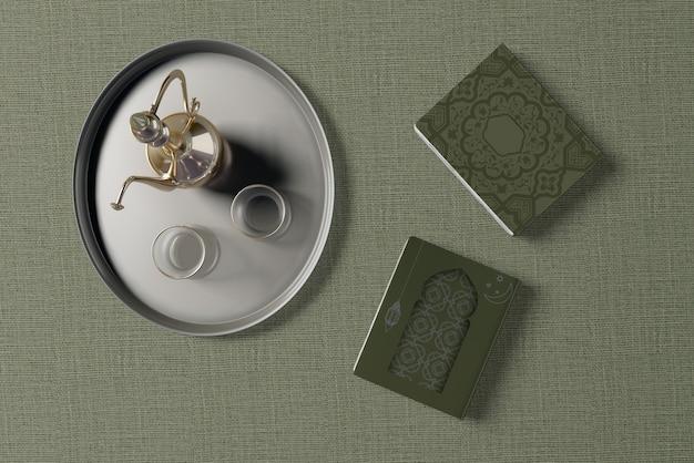 Плоский макет композиции рамадана Бесплатные Psd