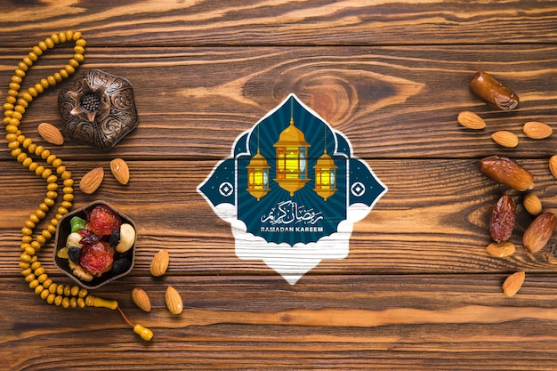 Flat lay ramadan composition with copyspace Free Psd