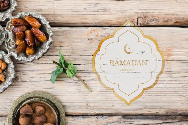 Flat lay ramadan mockup for logo Free Psd