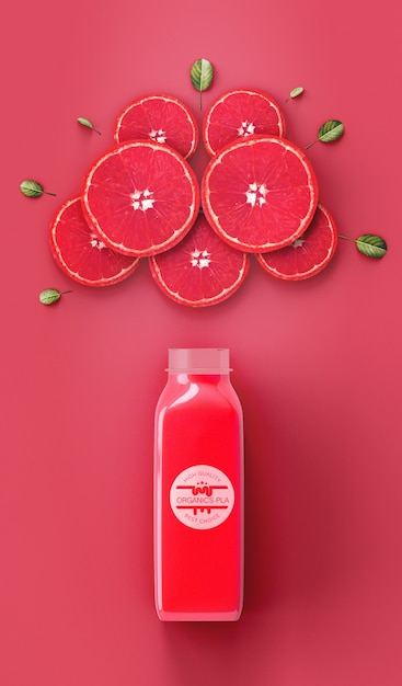 Flat lay refreshing red smoothie mock-up Free Psd
