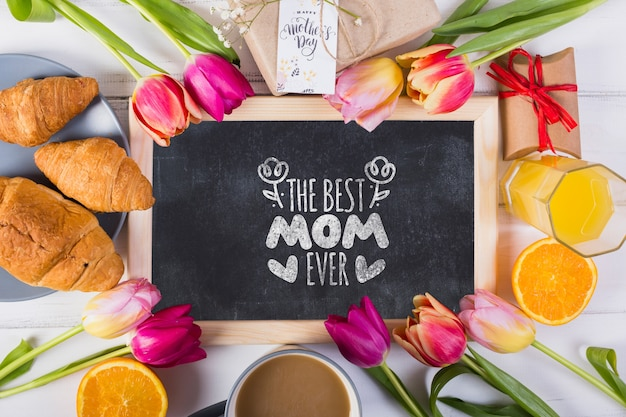 Flat lay slate mockup for easter Free Psd