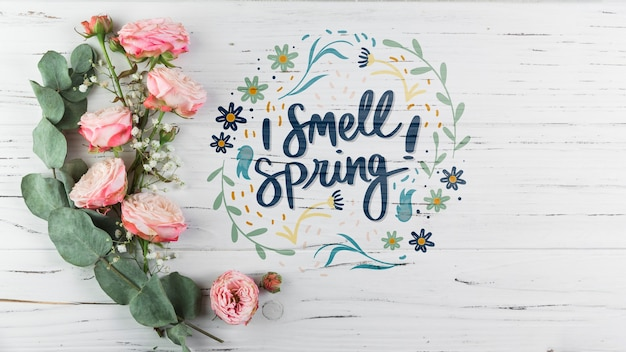 Flat lay spring mockup with copyspace Free Psd