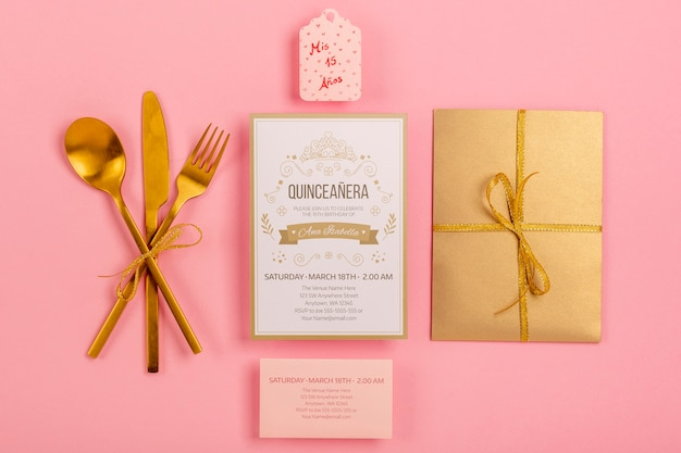 Flat lay stationery items for sweet fifteen event Free Psd