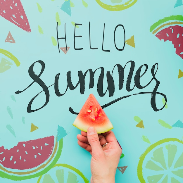 Flat lay summer background with exotic fruits Free Psd