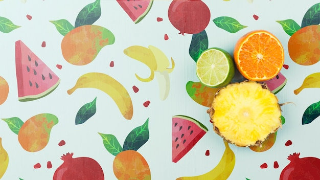 Flat lay summer mockup with copyspace and fruits Free Psd
