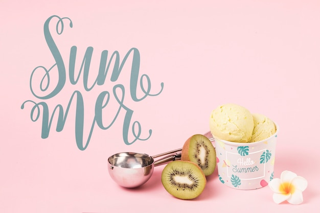 Flat lay summer mockup with copyspace and ice cream Free Psd