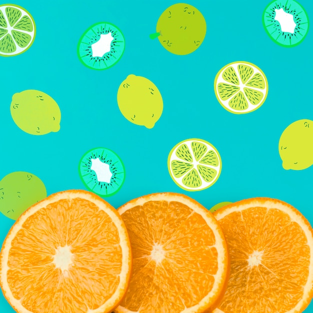 Flat lay summer mockup with copyspace and orange slices Free Psd