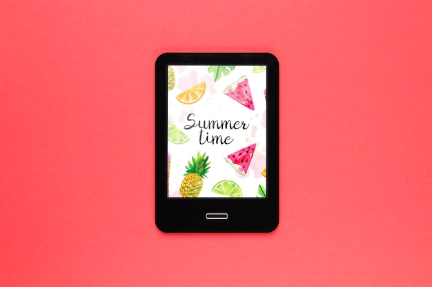 Flat lay tablet mockup with summer concept Free Psd