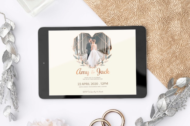 Плоский планшет с изображением свадьбы Бесплатные Psd