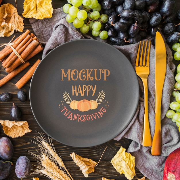 Flat lay of thanksgiving concepy mock-up Premium Psd