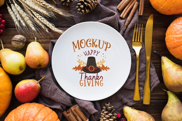 Flat lay of thanksgiving concepy mock-up Free Psd