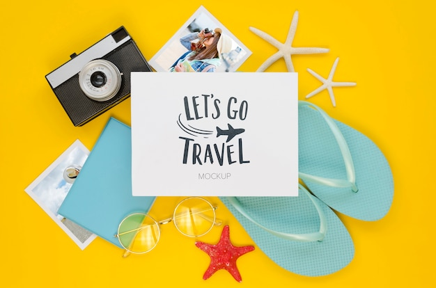 Flat lay travel concept with flip flops Free Psd
