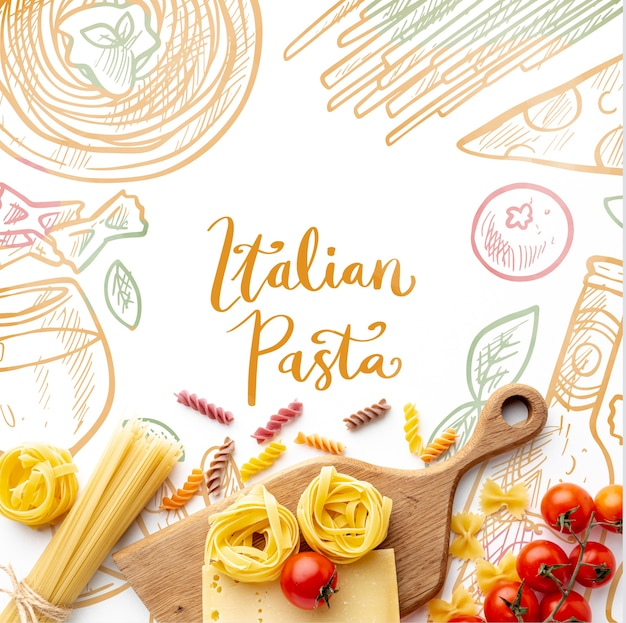 Flat lay uncooked pasta assortment and tomatoes with hand drawn background Free Psd