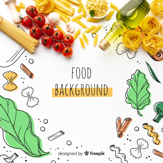 Flat lay uncooked pasta mix and tomatoes with hand drawn background Free Psd