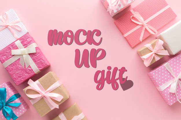 Mock-up di scatole regalo varie piatte Psd Gratuite