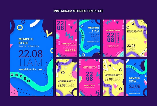 Flat memphis style instagram stories collection Free Psd