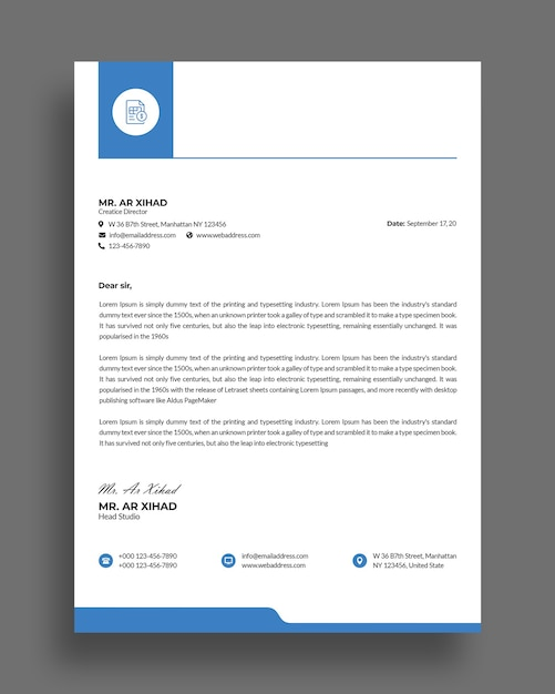 Flat minimal business letterhead template design Premium Psd