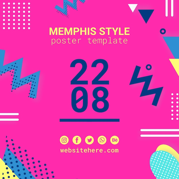 Flat pink memphis style background Free Psd