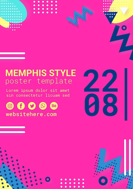 Flat pink memphis style poster Free Psd