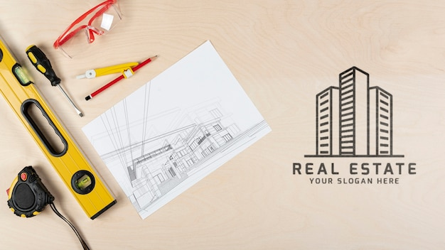 Flat view stationery elements for real estate Premium Psd