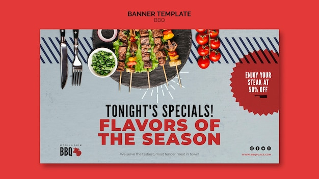 Flavours of the season bbq banner template Free Psd