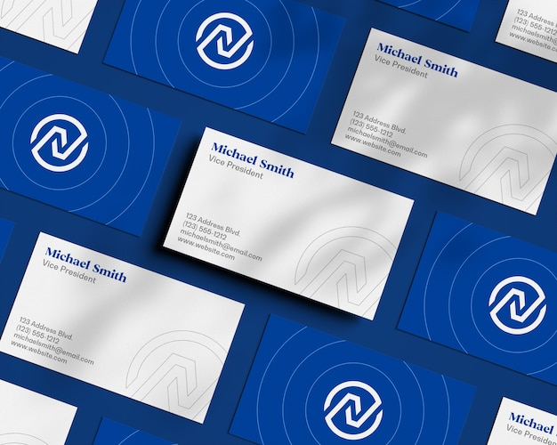 Float business card pattern with shadow overlay mockup Premium Psd