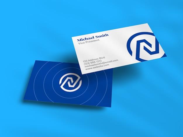Мокап визитной карточки float stack с наложением теней Premium Psd