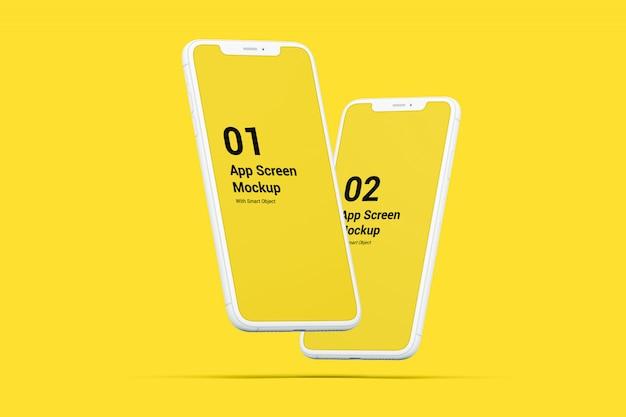 フローティング電話モックアップ Premium Psd