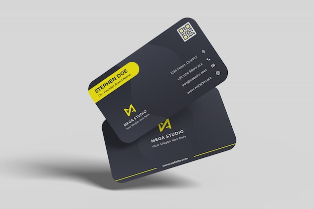 Floating business cards Premium Psd